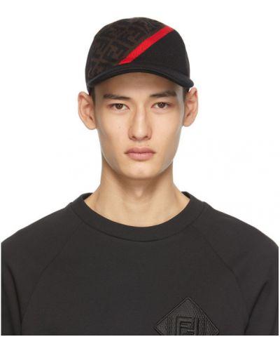Bawełna wełniany czarny czapka z daszkiem prążkowany Fendi