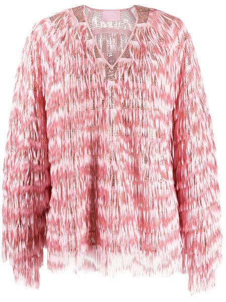 Różowa bluzka z długimi rękawami z dekoltem w serek Giamba