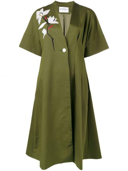 Зеленое пальто с вышивкой из вискозы Osman