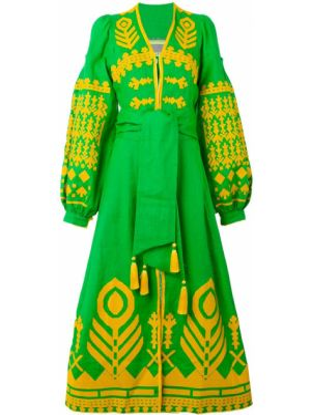 Льняное платье с вышивкой с V-образным вырезом на пуговицах Yuliya Magdych