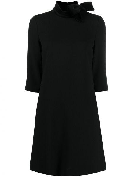 Бархатное с рукавами черное платье Goat