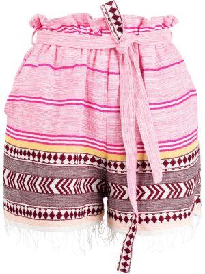 С кулиской розовые хлопковые шорты Lemlem