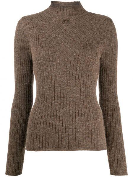 Шерстяной коричневый свитер с длинными рукавами с заплатками Courrèges