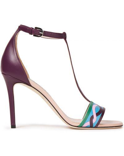 Fioletowe sandały skorzane klamry Emilio Pucci