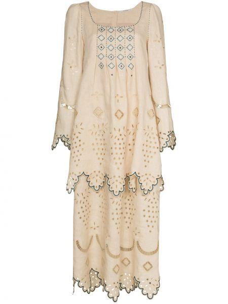 Льняное бежевое платье миди с длинными рукавами Vita Kin