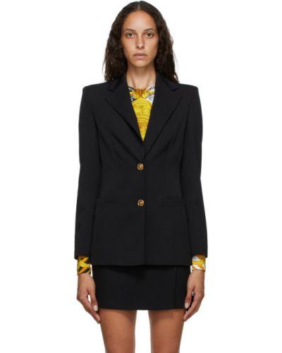 Черный удлиненный пиджак с карманами с воротником Versace