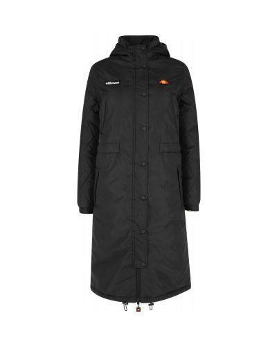 Черная утепленная длинная куртка на молнии Ellesse