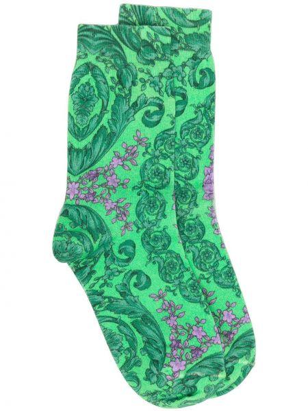 Хлопковые зеленые носки эластичные Versace