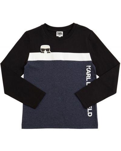 Bawełna z rękawami bawełna czarny koszula Karl Lagerfeld