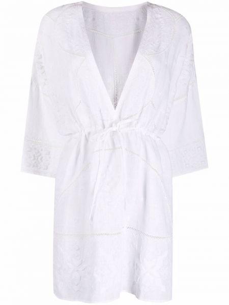 Lniana biała sukienka rozkloszowana z haftem Eres