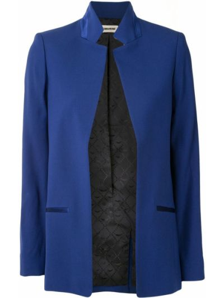 Синий удлиненный пиджак с лацканами из вискозы Zadig&voltaire