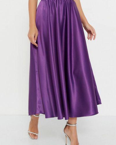 Шелковая фиолетовая юбка свободного кроя Silk Me