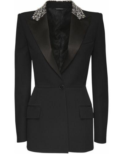Czarny kurtka z mankietami prążkowany z haftem Givenchy