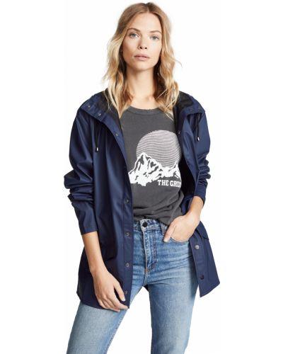 Синяя длинная куртка с капюшоном с длинными рукавами Rains