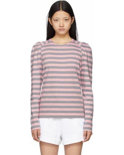 T-shirt bawełniana - różowa Ganni