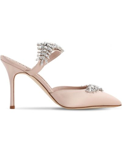 Розовые кожаные мюли на каблуке Manolo Blahnik