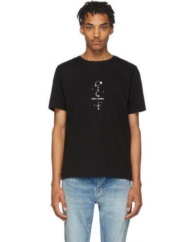 Z rękawami bawełna czarny koszula z kołnierzem Saint Laurent