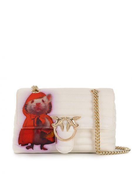 Розовая стеганая сумка на цепочке Pinko