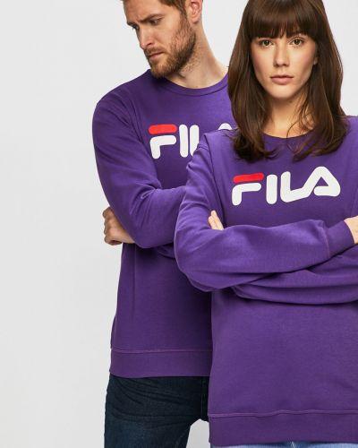 Fioletowa bluza z kapturem bawełniana Fila