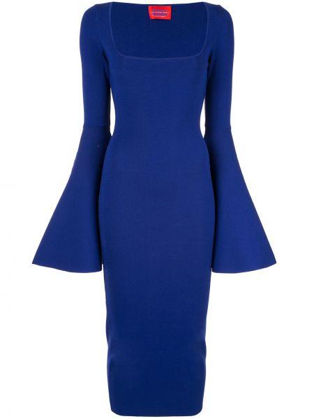 Платье миди с рукавами синее Solace London