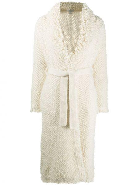 Белое кашемировое вязаное длинное пальто Avant Toi