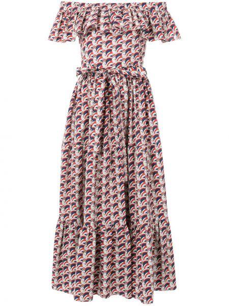 Платье миди с поясом с открытыми плечами La Doublej
