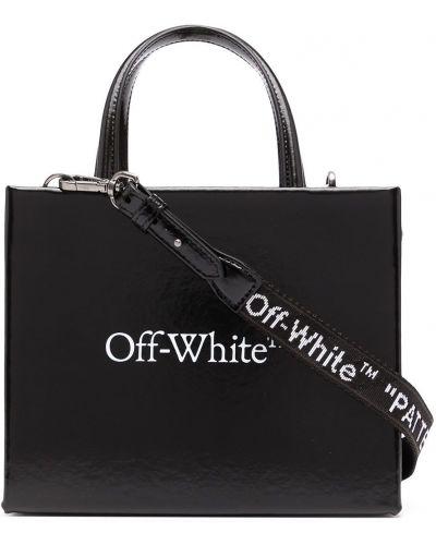 Черная кожаная сумка-тоут с карманами Off-white