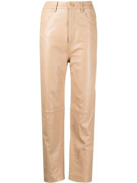 Прямые кожаные брюки на пуговицах Sandro Paris