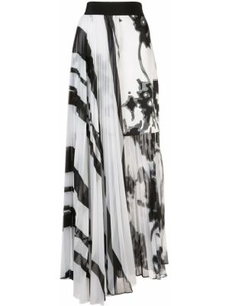 Плиссированная белая шелковая юбка макси с поясом Silvia Tcherassi