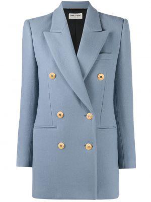 Шерстяной синий пиджак двубортный Saint Laurent