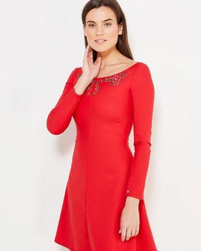 Коктейльное платье красный осеннее Mazal