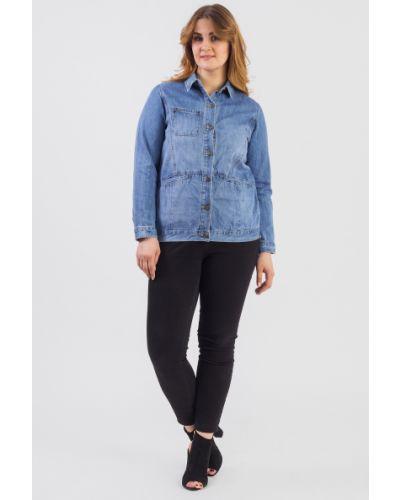 Джинсовая куртка на пуговицах голубая Lacywear