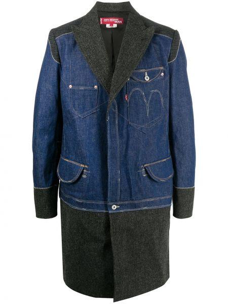 С рукавами синее шерстяное длинное пальто с карманами Junya Watanabe Man
