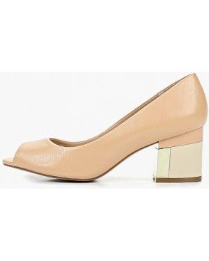 Туфли на каблуке кожаные с открытым носком Indiana