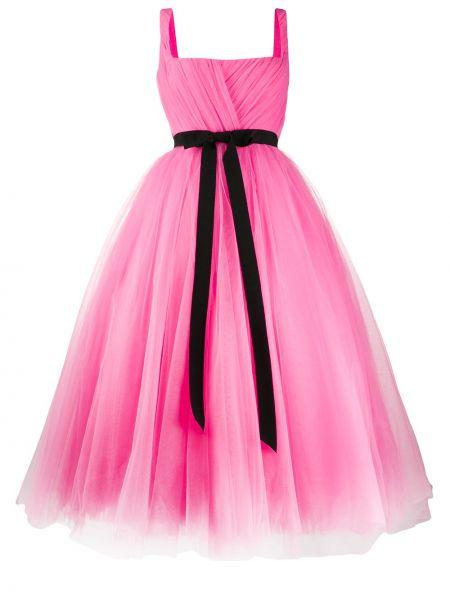 Платье с поясом розовое на молнии Parlor