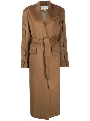 Коричневое шерстяное длинное пальто с поясом Matériel