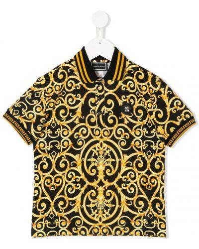 Рубашка с узором черная Young Versace