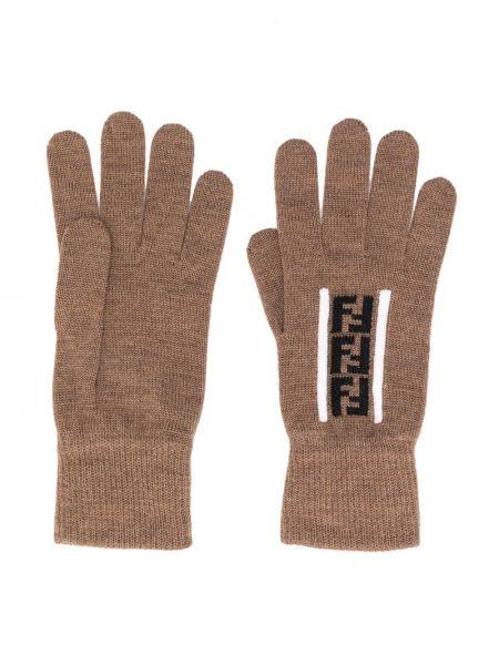 Prążkowane czarne rękawiczki wełniane Fendi