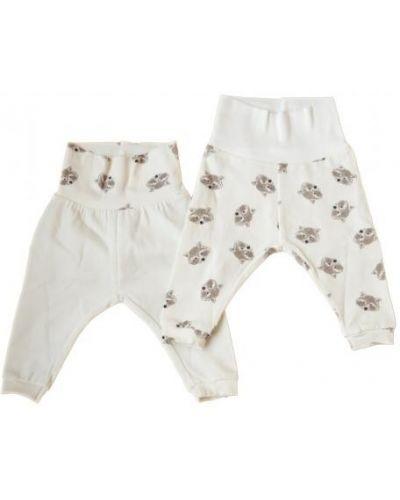 Хлопковые белые брюки на резинке с поясом свободного кроя Мамин дом