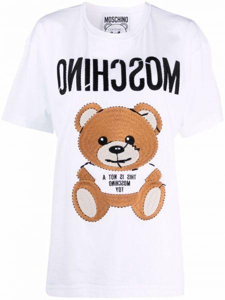 Белая футболка с вырезом с вышивкой Moschino