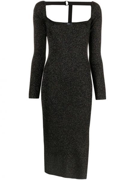 С рукавами трикотажное черное платье макси Diesel