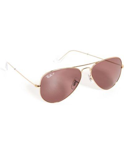 Мягкие солнцезащитные очки золотые металлические Ray-ban