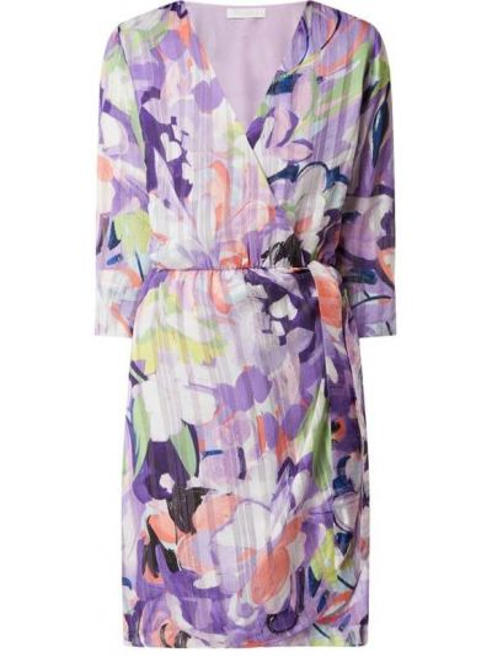 Fioletowa sukienka mini rozkloszowana z dekoltem w serek Freebird