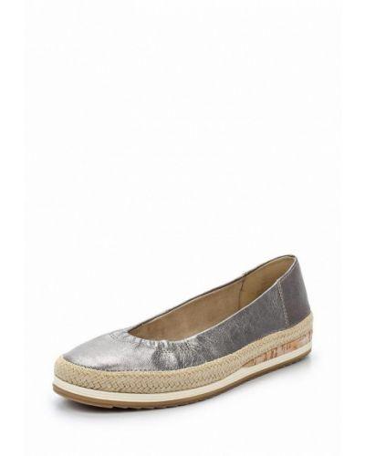 Кожаные туфли серебряного цвета Marco Tozzi