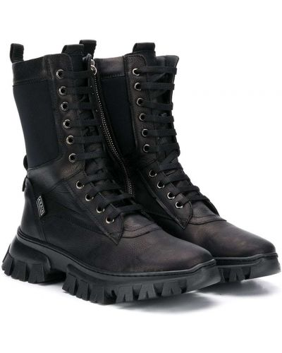 Кожаные черные ботинки на шнуровке круглые Cinzia Araia Kids