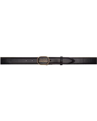 Skórzany czarny pasek z paskiem Gucci