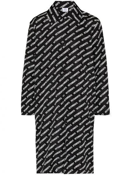 Klasyczny czarny płaszcz przeciwdeszczowy z długimi rękawami Vetements