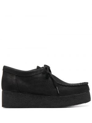 Черные кожаные туфли на платформе Clarks Originals