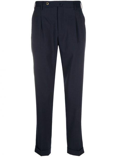 Зауженные зауженные брюки с отворотом на молнии со складками Pt01