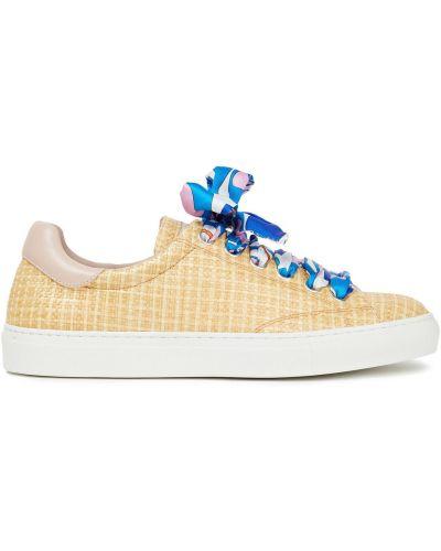 Sneakersy skorzane sznurowane koronkowe Emilio Pucci